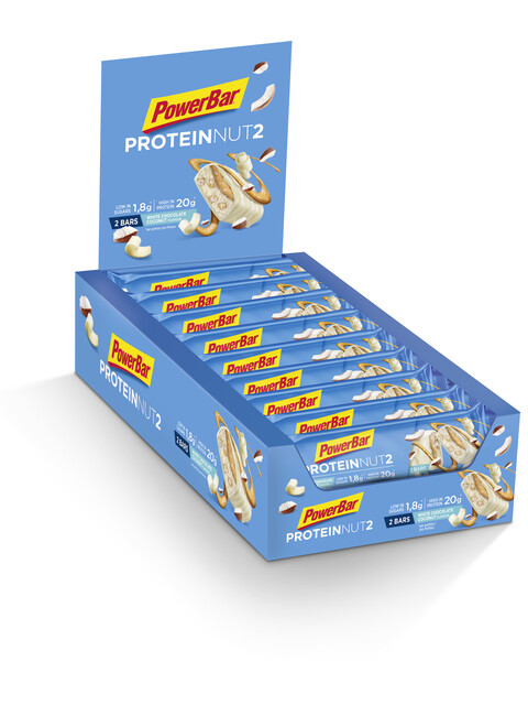 PowerBar Protein Nut2 Riegel Box Milk White Chocolate Coconut 18 x 2 x 30g